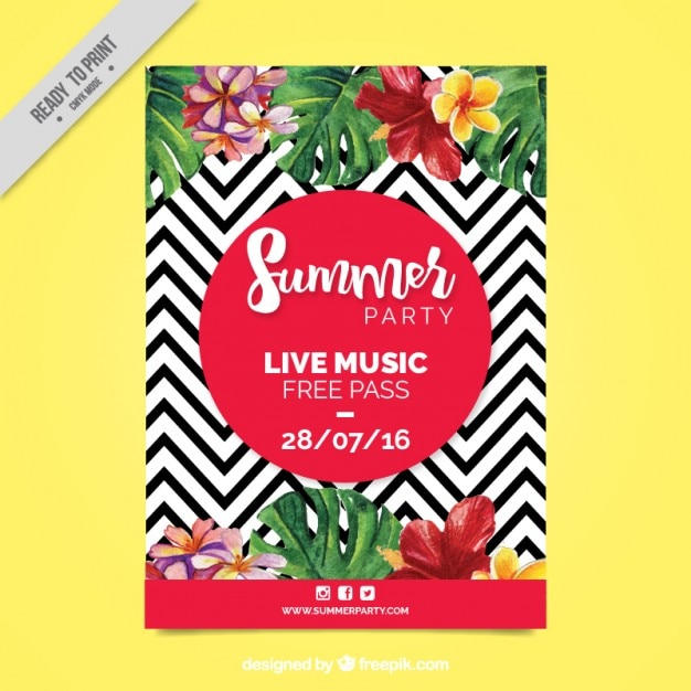 Zig Zag Lines With Watercolor Flowers Party Flyer Vector