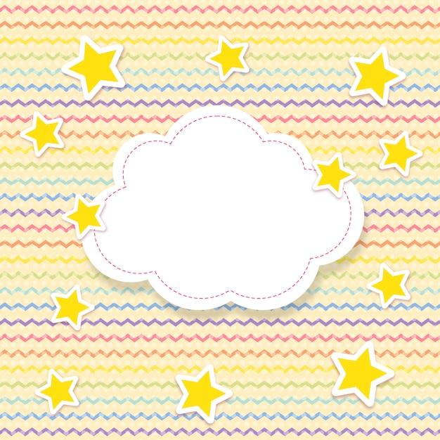 구름 모양에 별과 텍스트 공간이 무지개 색으로 지그재그 패턴 프리미엄 벡터