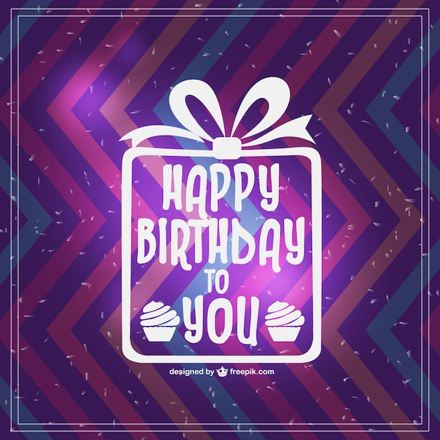 Zigzag Happy Birthday Card With White Present Vector