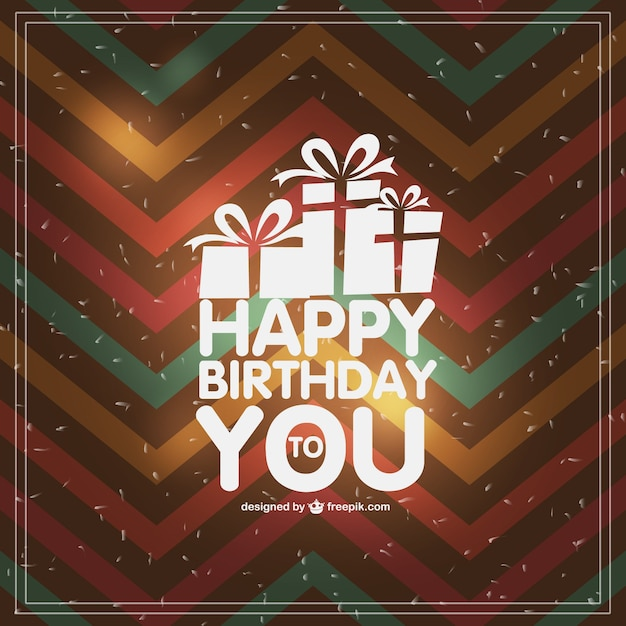 Zigzag happy birthday card with white presents Free Vector