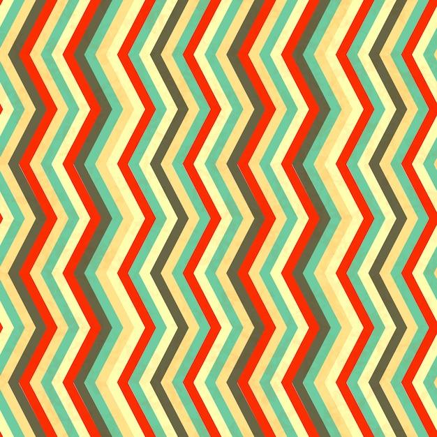 Зигзагообразные полосы в стиле ретро, бесшовные модели Premium векторы