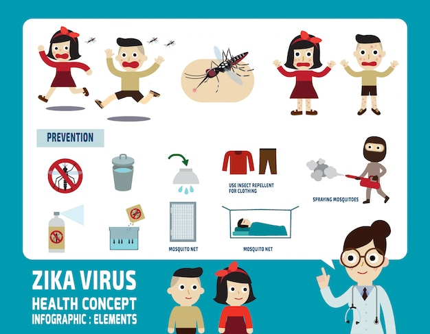 Zika virus infographic elements health care concept vector illustration Premium Vector