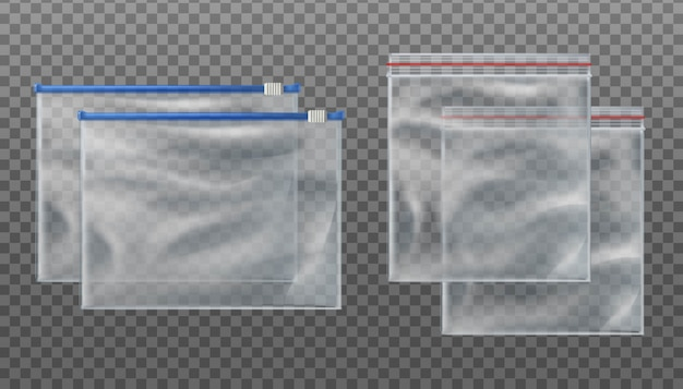 Zip lock transparent bags and zip slider transparent bags. empty pouches in different sizes on transparent background. Premium Vector