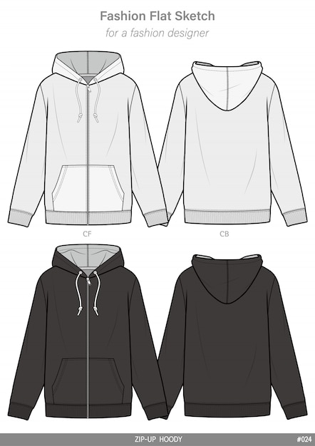 Zip-up hoody fashion flat technical drawing template Premium Vector