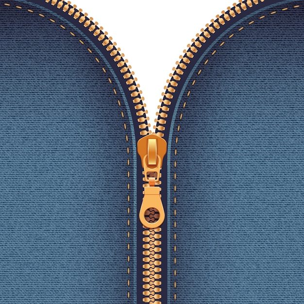 Zipper realistic background Free Vector