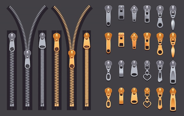 Zipper realistic set Free Vector