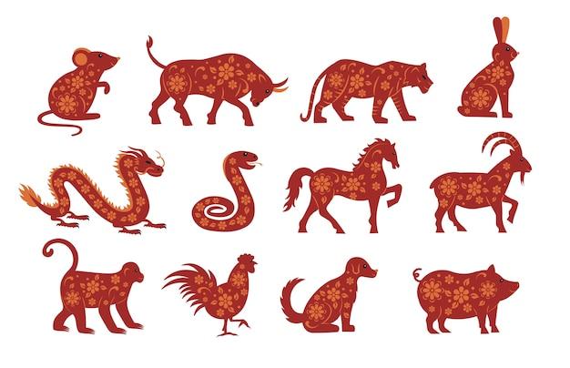 Bộ ảnh 12 con giáp cho năm mới chuột, bò, hổ, thỏ, rồng, rắn, ngựa, dê, khỉ, gà, chó, lợn.
