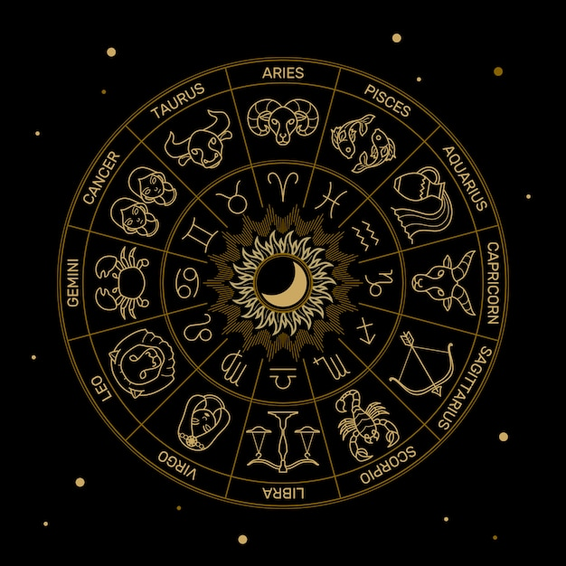 Zodiac astrology horoscope illustration gold line on black minimal style. Premium Vector