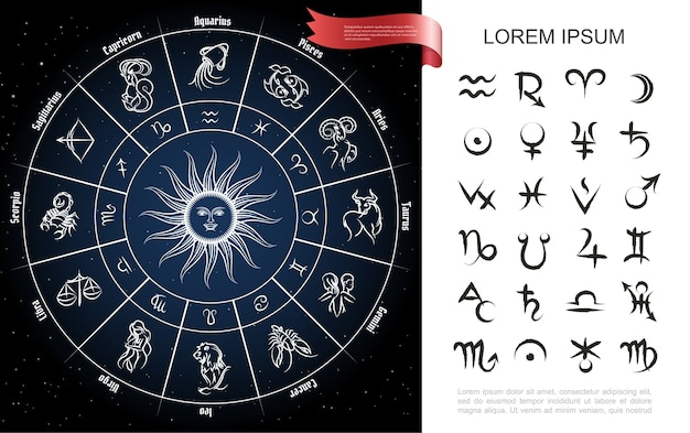 Composizione del cerchio dello zodiaco Vettore gratuito
