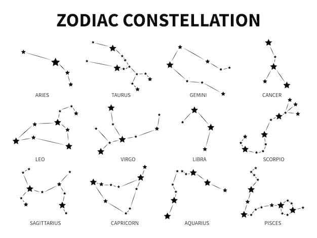 Зодиакальное созвездие. овен, телец, близнецы, рак, лев, дева, весы, скорпион, рыбы, зодиакальные, мистические астрологии, черные знаки. Premium векторы