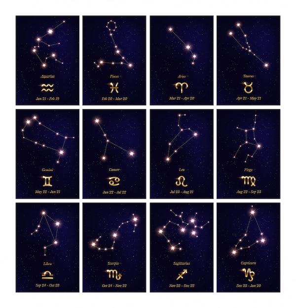 Набор иллюстраций созвездия зодиака Premium векторы
