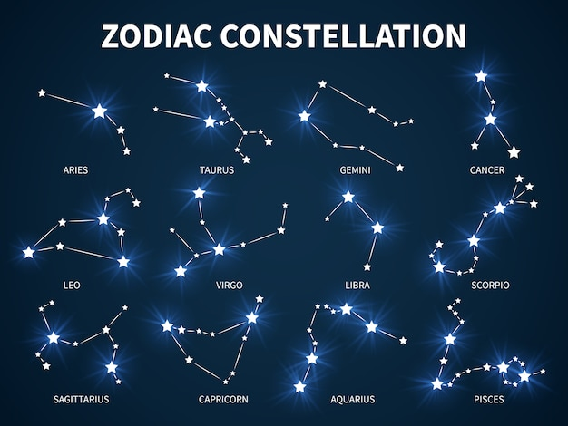 Zodiac constellation. zodiacal mystic astrology with glowing stars Premium Vector