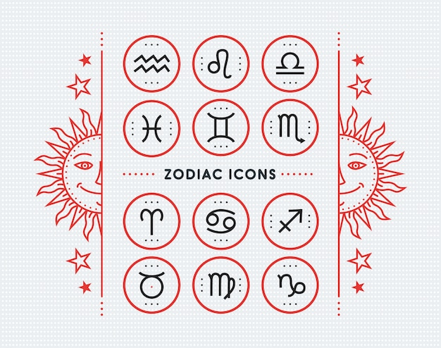 Zodiac icon collection. sacred symbols set. vintage style  elements of horoscope and astrology purpose. thin line signs  on bright dotted background.  collection. Premium Vector