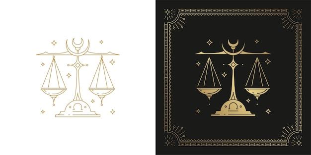Знак зодиака весы гороскоп знак линии искусства силуэт дизайн иллюстрация Premium векторы