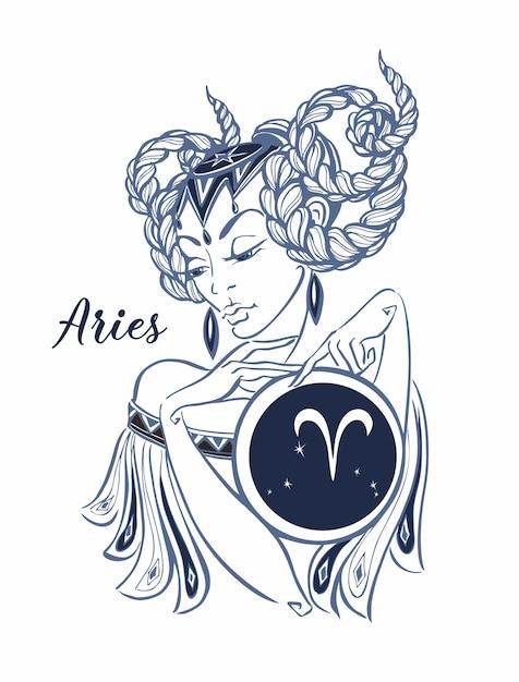 Zodiac Sign Aries As A Beautiful Girl Horoscope Vector Premium