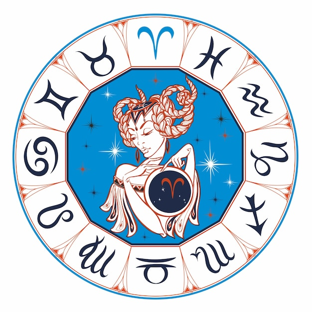 Zodiac sign aries as a beautiful girl. Premium Vector
