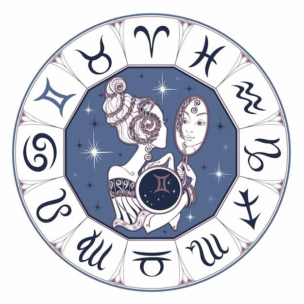 Zodiac sign gemini a beautiful girl Premium Vector
