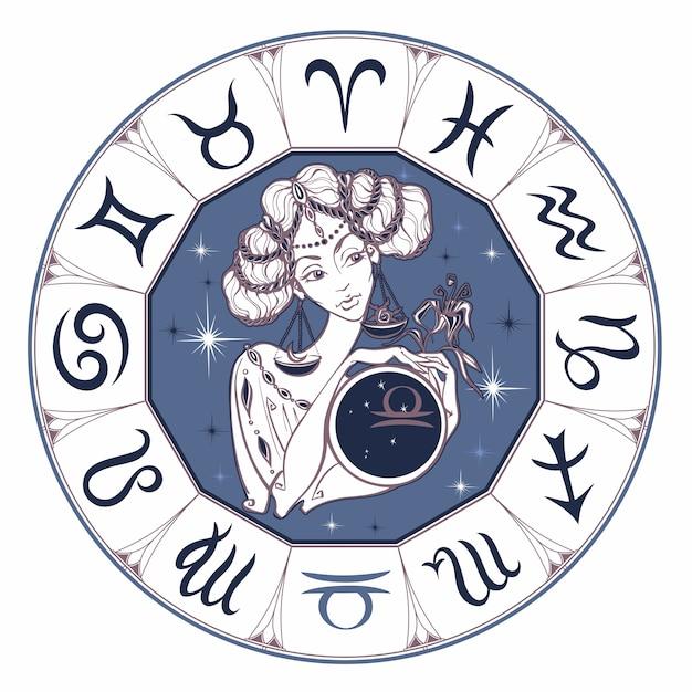 Zodiac sign libra as a beautiful girl Premium Vector