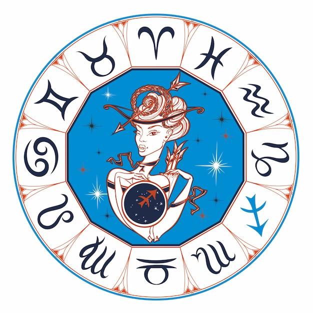 Zodiac sign sagittarius a beautiful girl Premium Vector