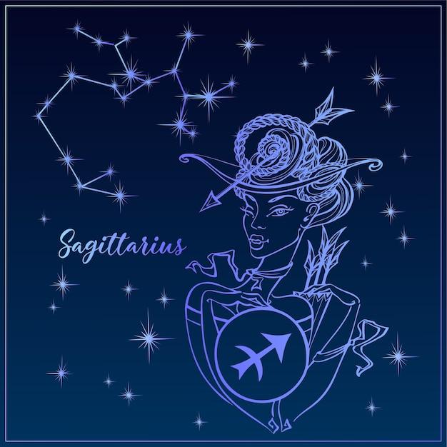 Zodiac sign sagittarius a beautiful girl. Premium Vector