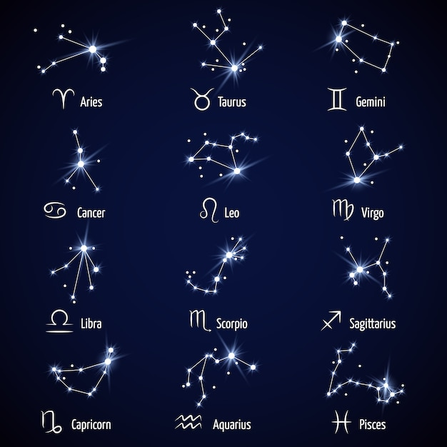 Zodiac signs.  astrology horoscope symbols or zodiacal icons Premium Vector