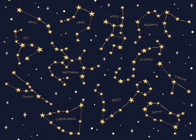 Zodiac signs constellations background. Premium Vector