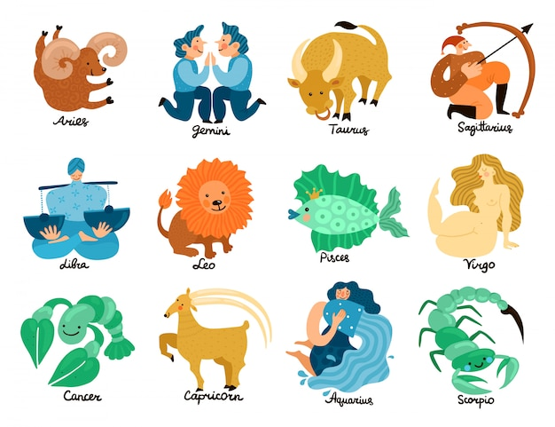 Free Vector Zodiac Signs Set