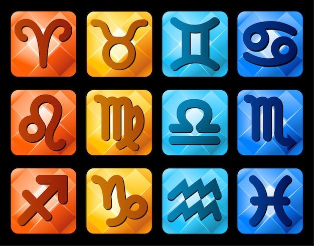 Zodiac signs symbols Premium Vector