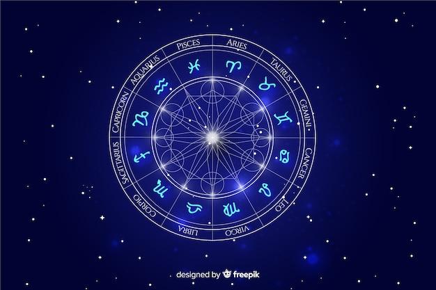 Колесо зодиака на космическом фоне Premium векторы