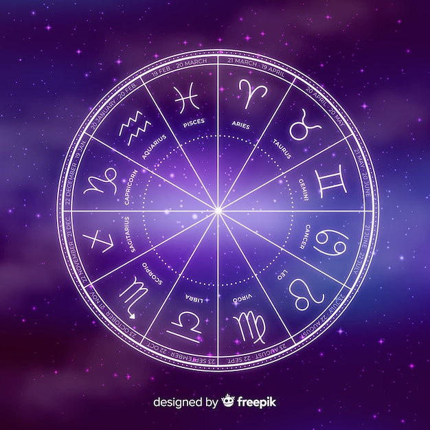 Zodiac wheel on space background Free Vector