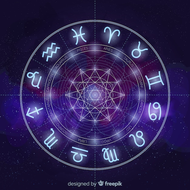 Zodiac wheel on a space background Free Vector