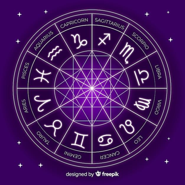 Ruota dello zodiaco su uno sfondo di spazio Vettore gratuito