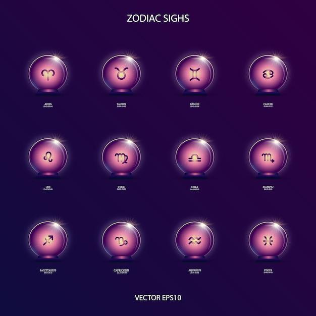 Zodiacal signs  in magic ball Premium Vector