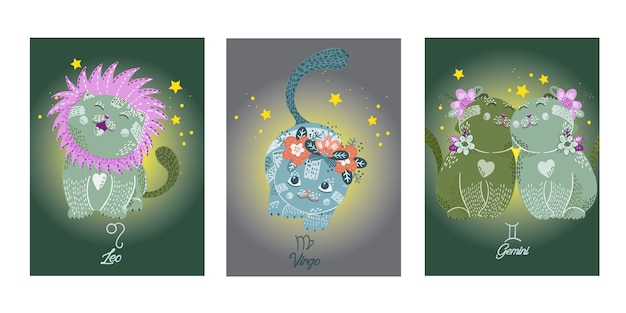 Zodiacs cards with cute cartoon cats characters Premium Vector