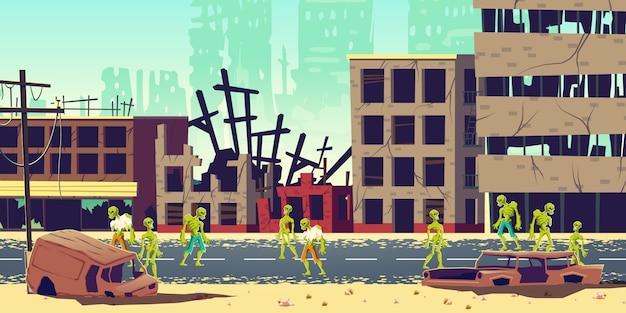 Zombie Apocalypse In City Cartoon Illustration Free Vector