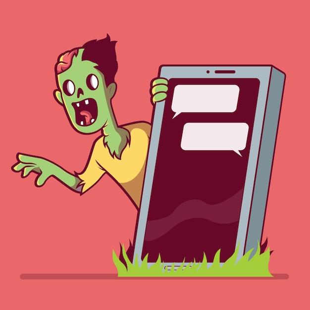スマートフォンの墓の後ろのゾンビ。ゾンビ、テクノロジー、死、ソーシャルメディア、依存症のデザインコンセプト Premiumベクター