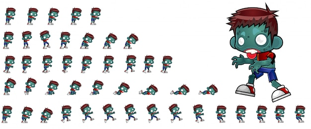 Zombie boy game sprites Premium Vector