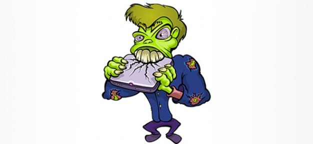 Cartoon Characters Zombies : Zombie cartoon character destroying a notebook vector