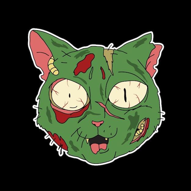 좀비 고양이 만화 프리미엄 벡터