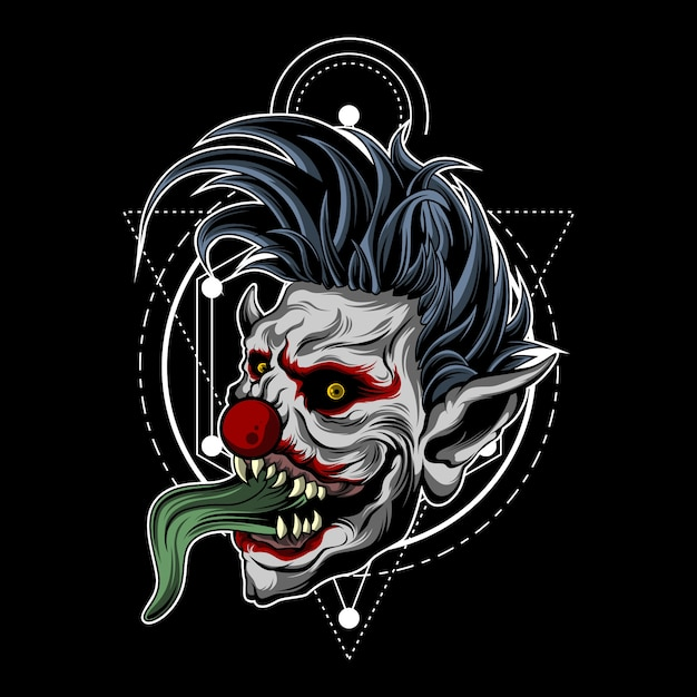 Zombie clown with sacred geometry Premium Vector