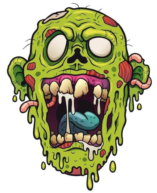 Zombie face cartoon Premium Vector