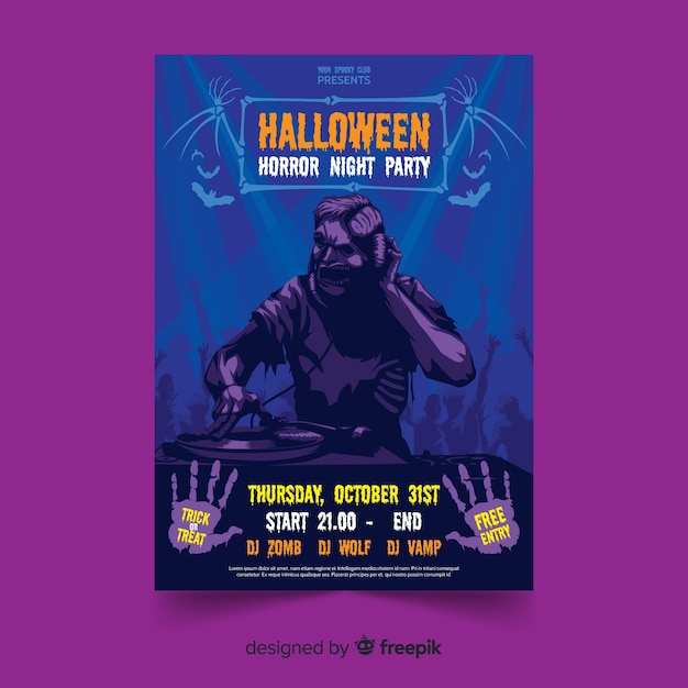Zombie flat halloween party poster template Free Vector
