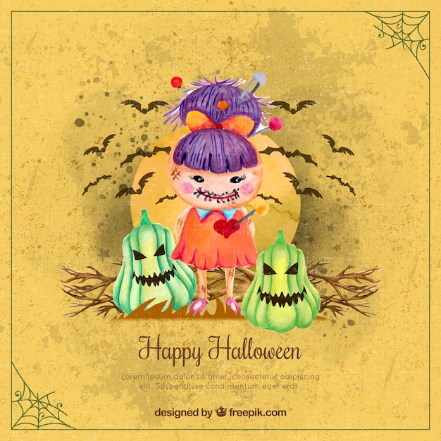 Zombie girl background with watercolor pumpkins