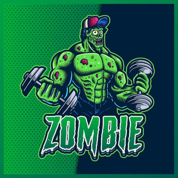 현대 일러스트와 함께 좀비 체육관 Esport 및 스포츠 마스코트 로고 디자인. 녹색 좀비 그림 프리미엄 벡터