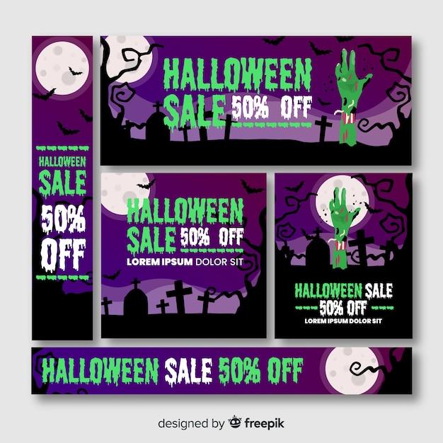 Zombie hand in cemetery halloween banner web Free Vector