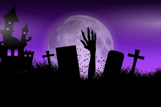 Zombie hand in halloween landscape Free Vector