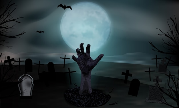 Zombie hand rising from the grave. graveyard with tombstones and moon. halloween background. Premium Vector
