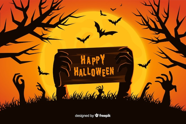 Zombie hands and full moon background Free Vector