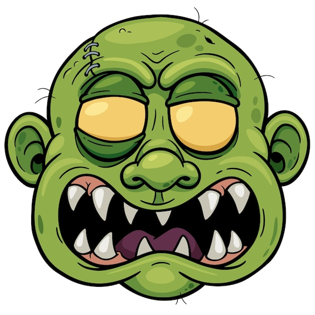 Premium Vector Zombie Head Cartoon