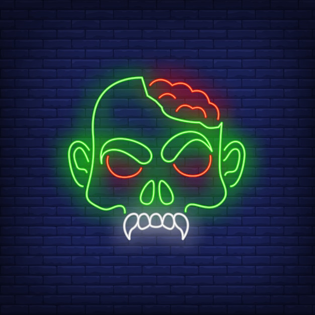 Zombie head with brains neon sign Free Vector